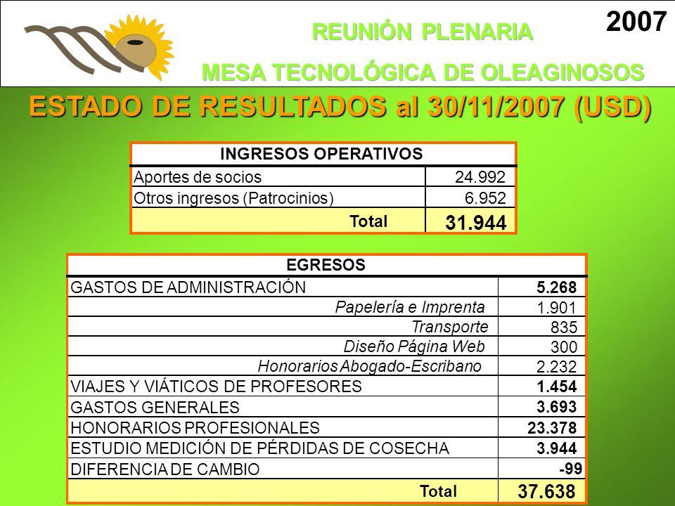 ESTADO DE RESULTADOS al 30/11/2007 (USD)