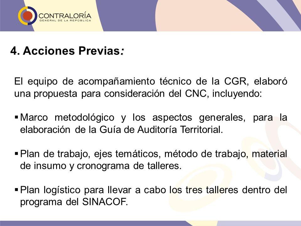 4. Acciones Previas: El equipo de acompañamiento técnico de la CGR, elaboró una propuesta para consideración del CNC, incluyendo: