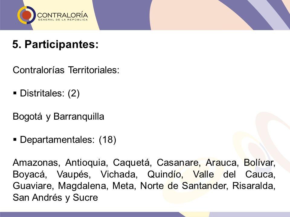 5. Participantes: Contralorías Territoriales: Distritales: (2)