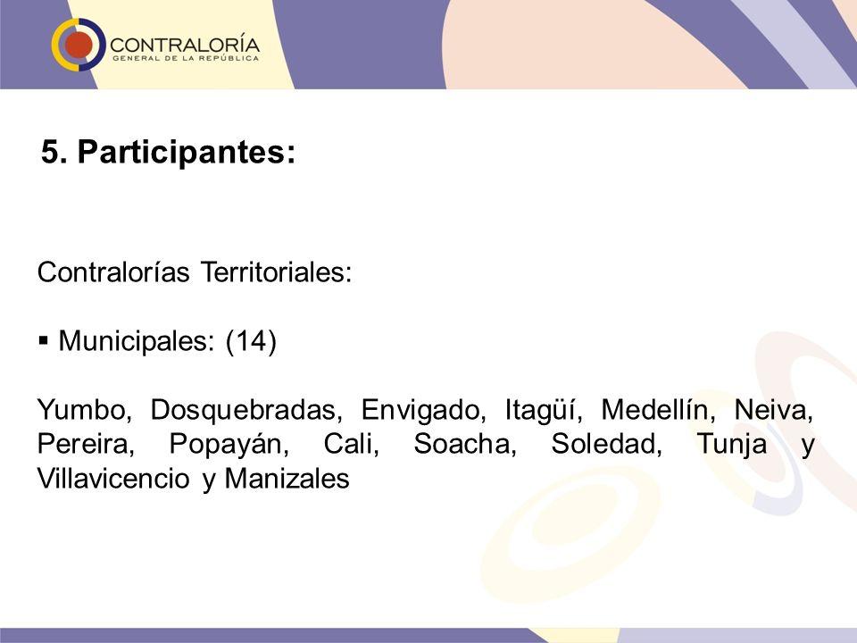 5. Participantes: Contralorías Territoriales: Municipales: (14)