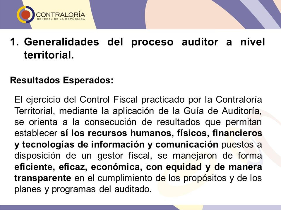 Generalidades del proceso auditor a nivel territorial.