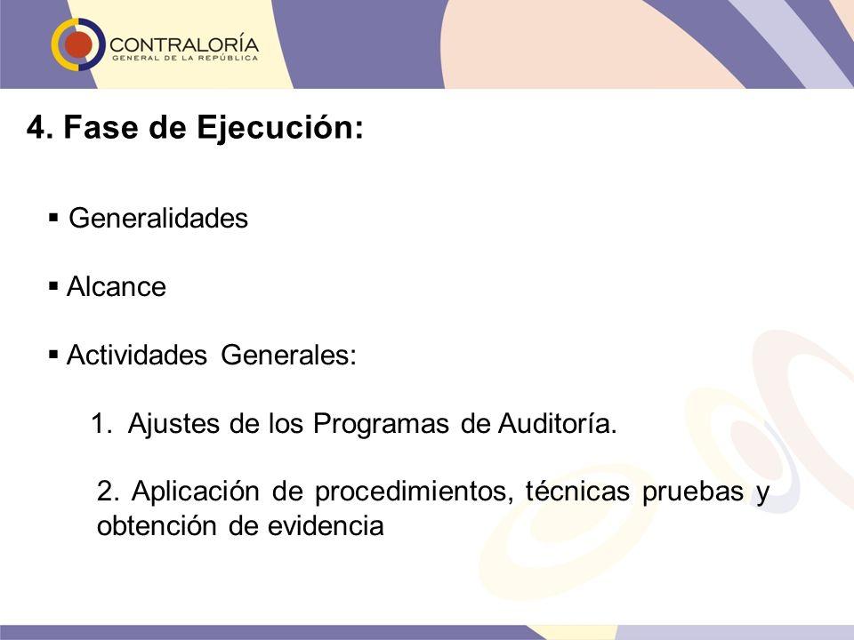 4. Fase de Ejecución: Generalidades Alcance Actividades Generales: