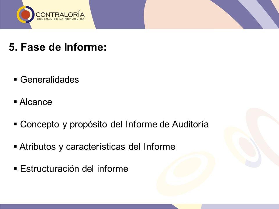 5. Fase de Informe: Generalidades Alcance