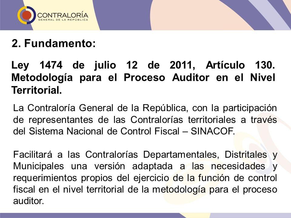 2. Fundamento: Ley 1474 de julio 12 de 2011, Artículo 130. Metodología para el Proceso Auditor en el Nivel Territorial.