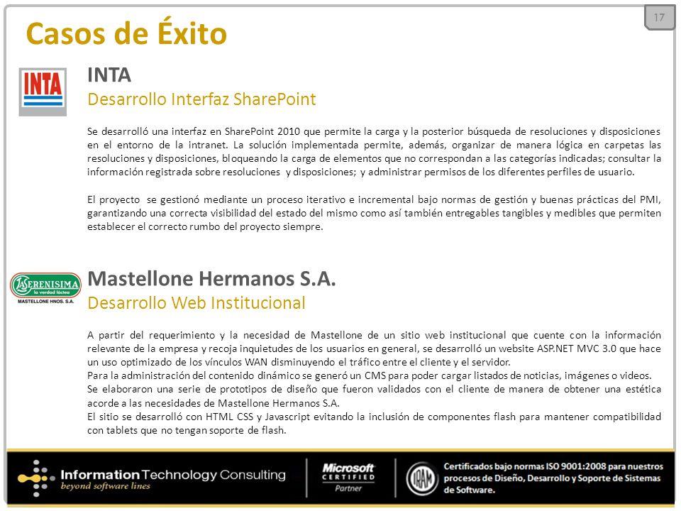 Casos de Éxito INTA Desarrollo Interfaz SharePoint