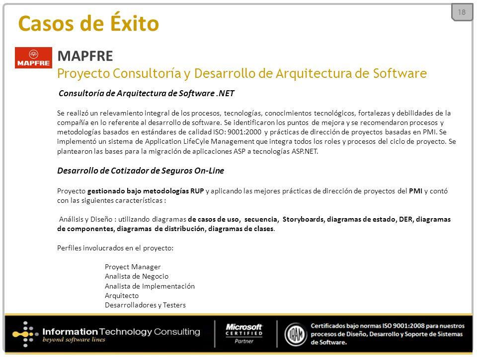 18 Casos de Éxito. MAPFRE. Proyecto Consultoría y Desarrollo de Arquitectura de Software. Consultoría de Arquitectura de Software .NET.
