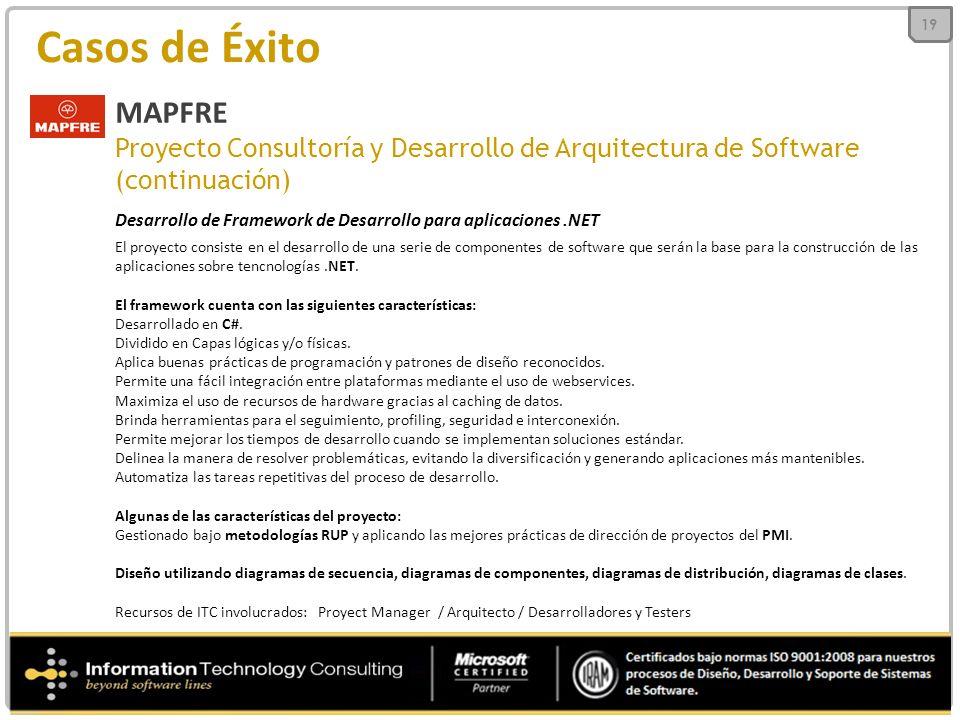 19 Casos de Éxito. MAPFRE. Proyecto Consultoría y Desarrollo de Arquitectura de Software. (continuación)