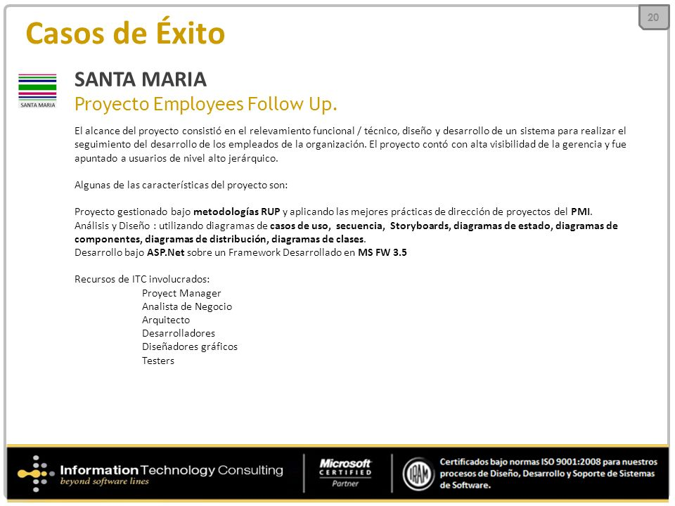 Casos de Éxito SANTA MARIA Proyecto Employees Follow Up.