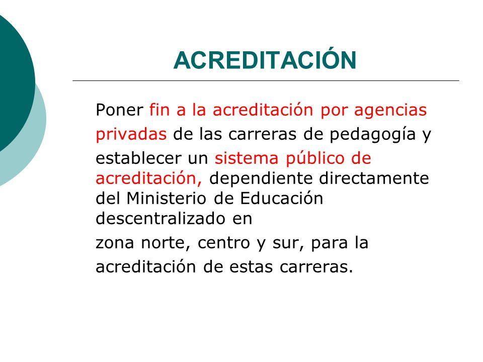 ACREDITACIÓN Poner fin a la acreditación por agencias