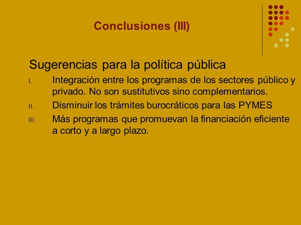 Sugerencias para la política pública