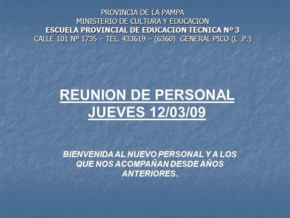 REUNION DE PERSONAL JUEVES 12/03/09
