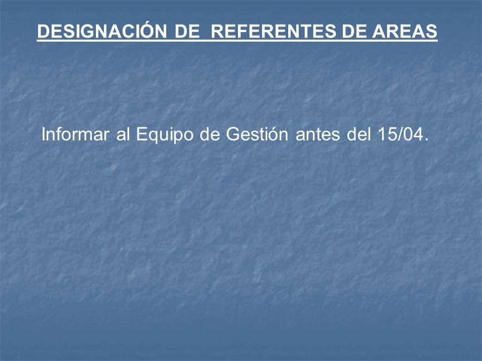DESIGNACIÓN DE REFERENTES DE AREAS