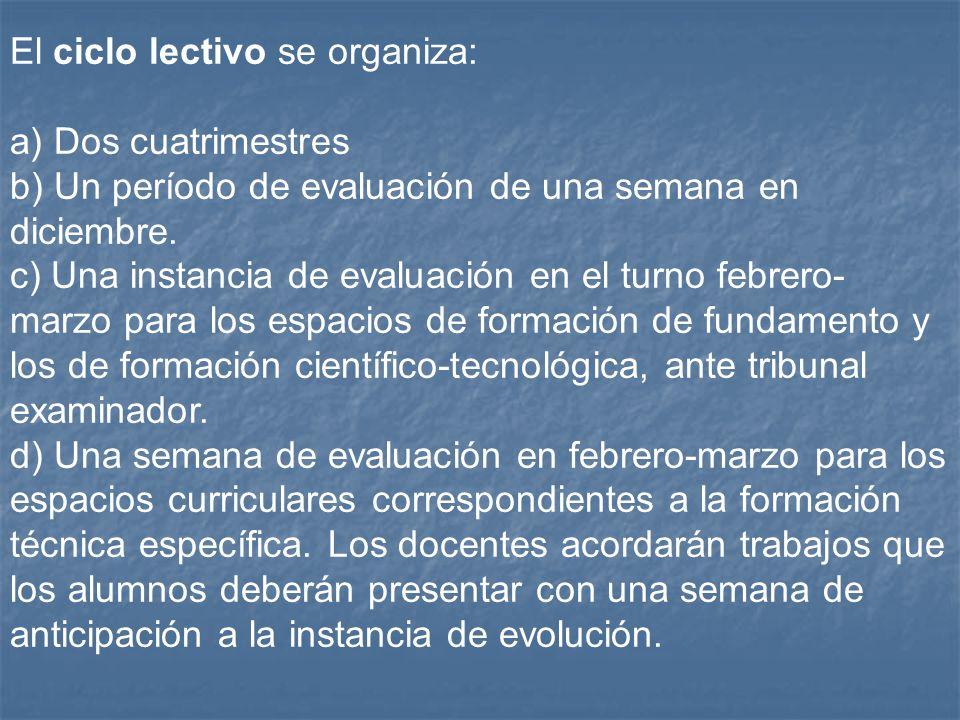 El ciclo lectivo se organiza: