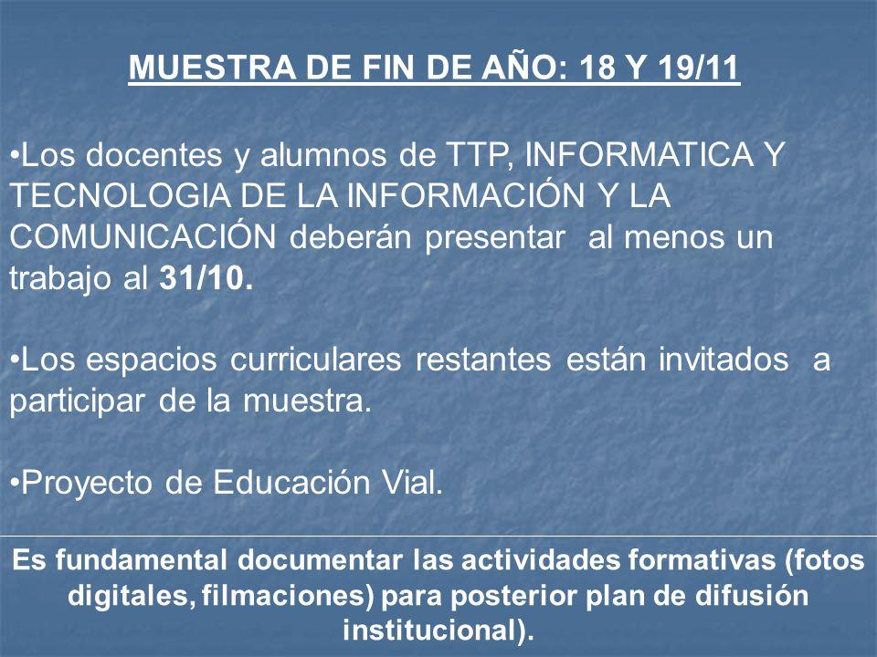 MUESTRA DE FIN DE AÑO: 18 Y 19/11