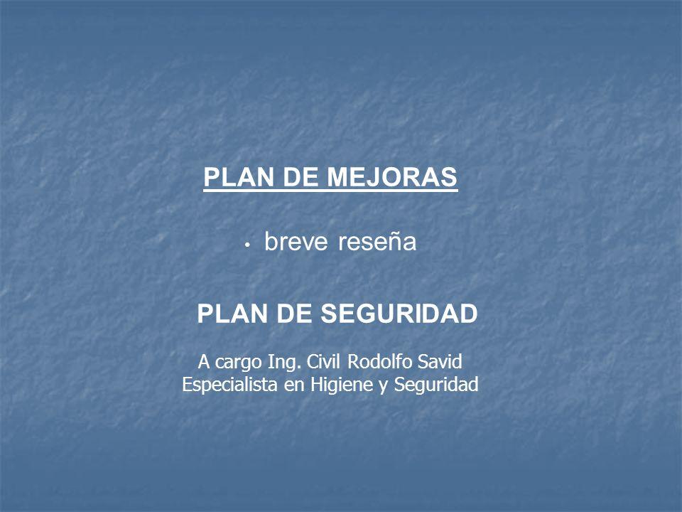 PLAN DE MEJORAS A cargo Ing. Civil Rodolfo Savid
