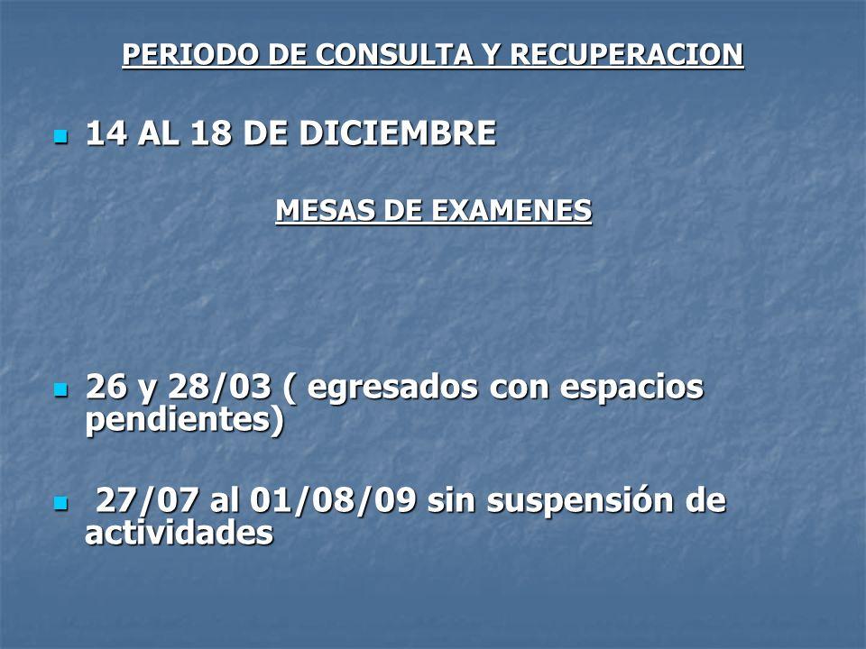 PERIODO DE CONSULTA Y RECUPERACION