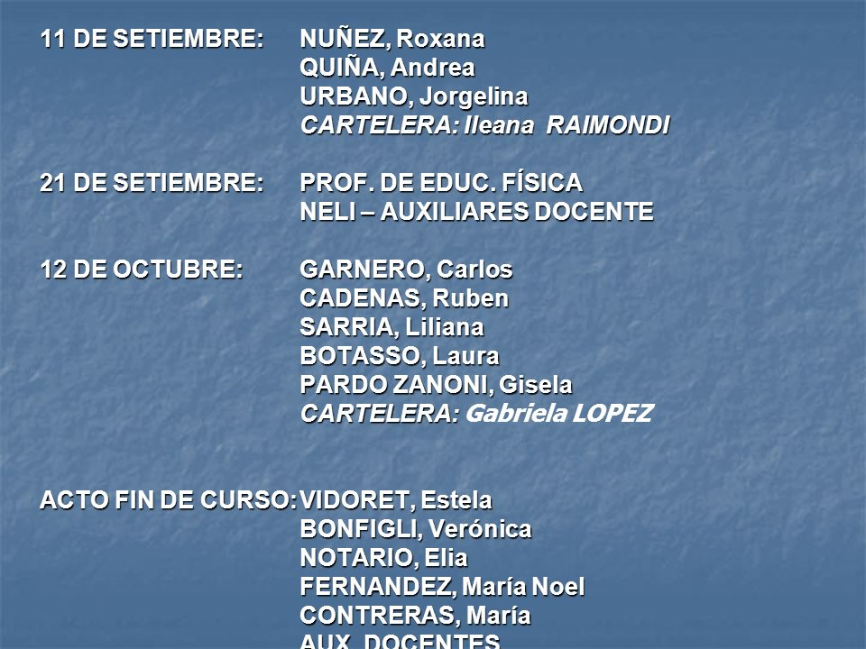 11 DE SETIEMBRE: NUÑEZ, Roxana