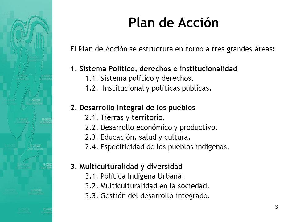 Plan de Acción El Plan de Acción se estructura en torno a tres grandes áreas: 1. Sistema Político, derechos e institucionalidad.