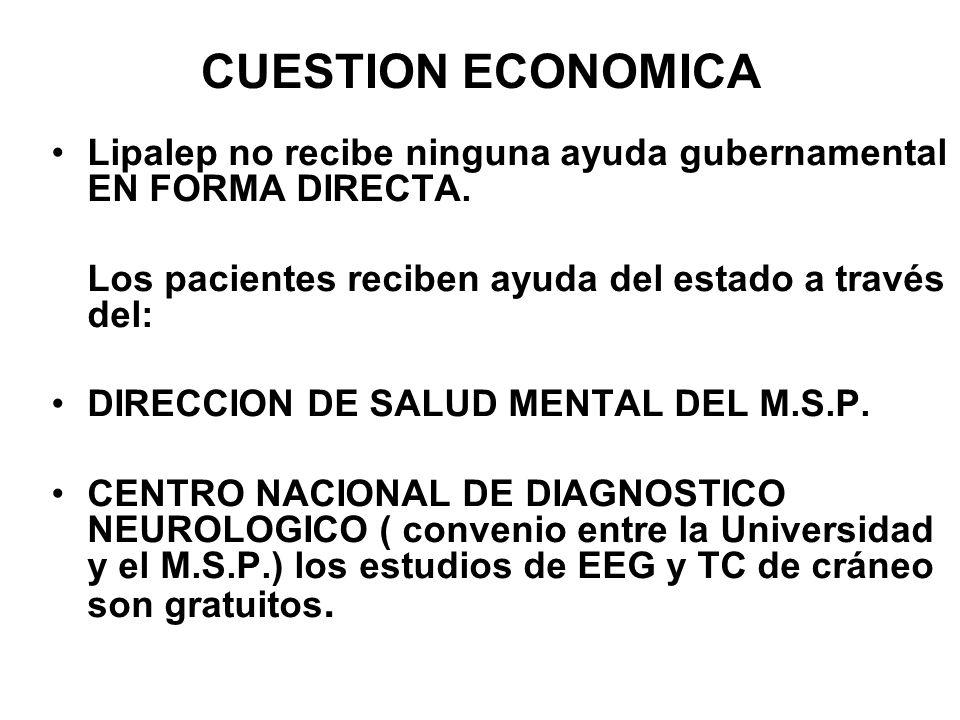 CUESTION ECONOMICA Lipalep no recibe ninguna ayuda gubernamental EN FORMA DIRECTA. Los pacientes reciben ayuda del estado a través del: