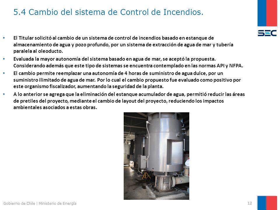 5.4 Cambio del sistema de Control de Incendios.