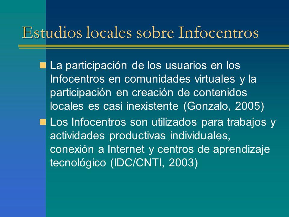 Estudios locales sobre Infocentros