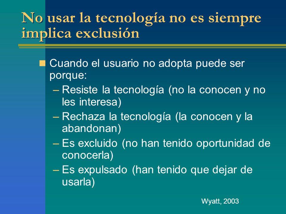 No usar la tecnología no es siempre implica exclusión
