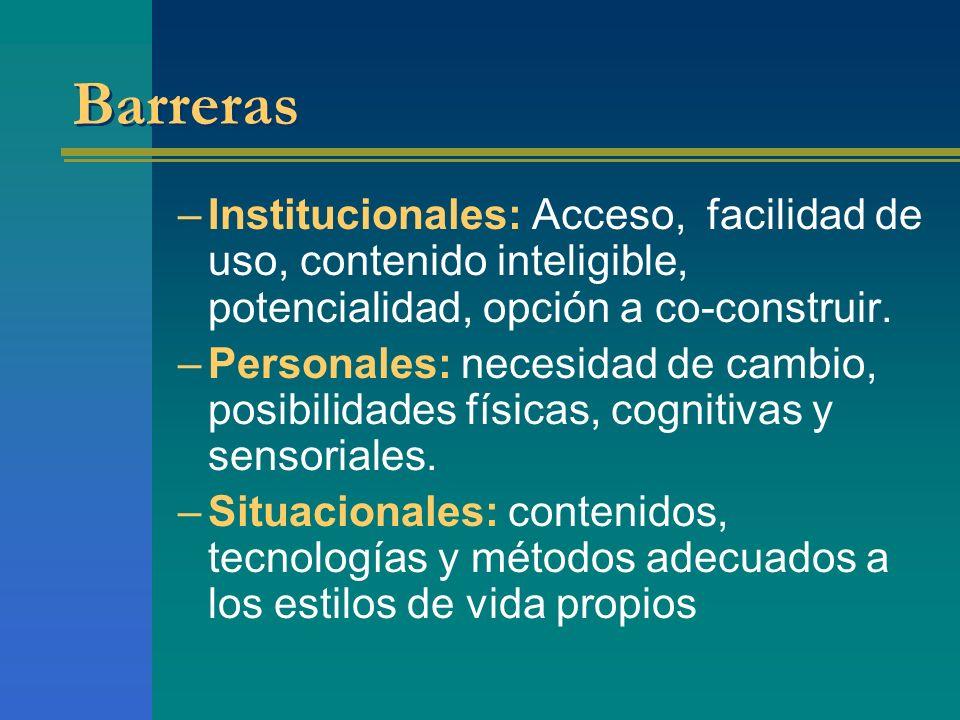 BarrerasInstitucionales: Acceso, facilidad de uso, contenido inteligible, potencialidad, opción a co-construir.