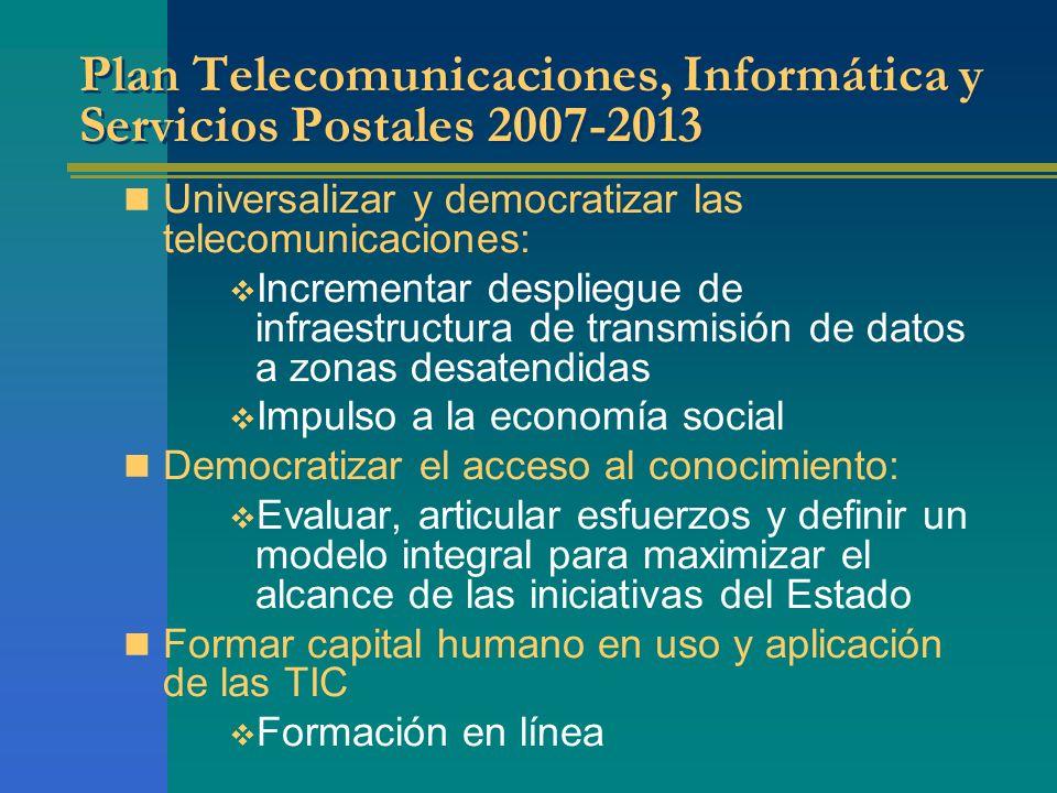 Plan Telecomunicaciones, Informática y Servicios Postales 2007-2013
