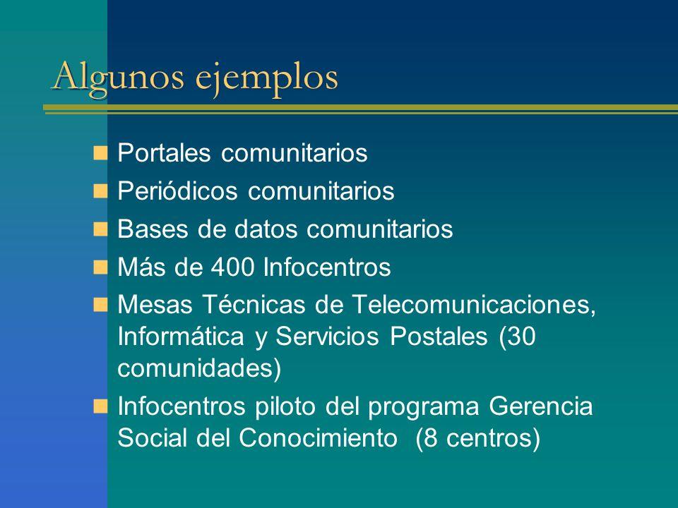Algunos ejemplos Portales comunitarios Periódicos comunitarios