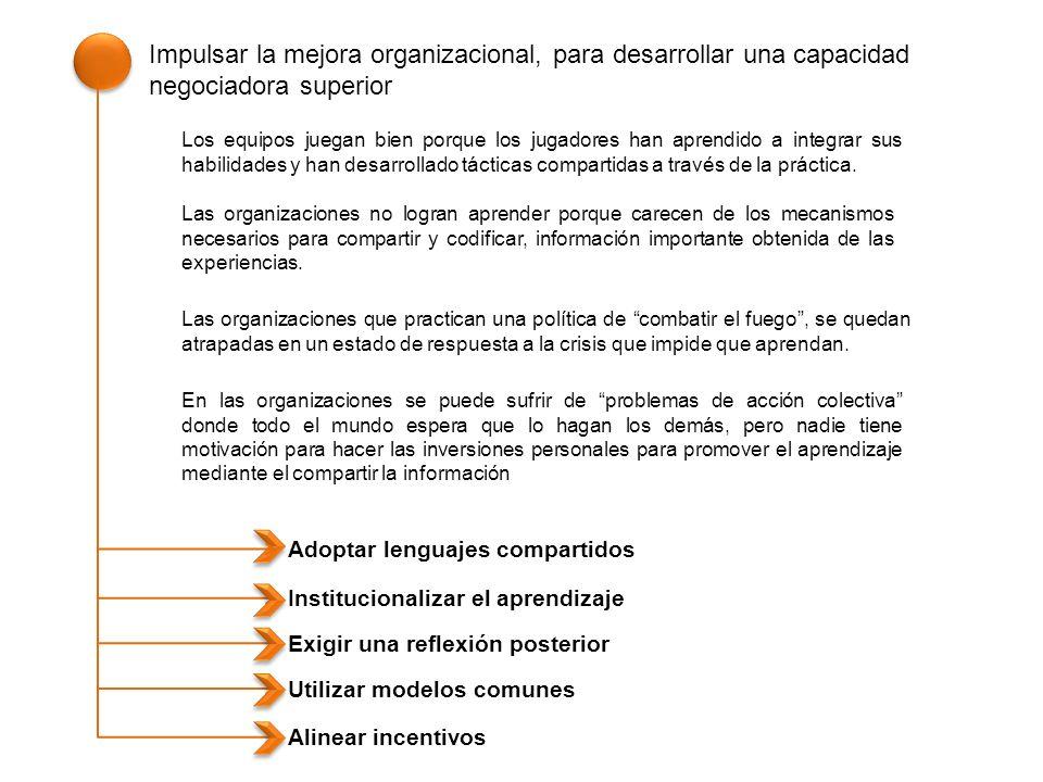 Impulsar la mejora organizacional, para desarrollar una capacidad negociadora superior