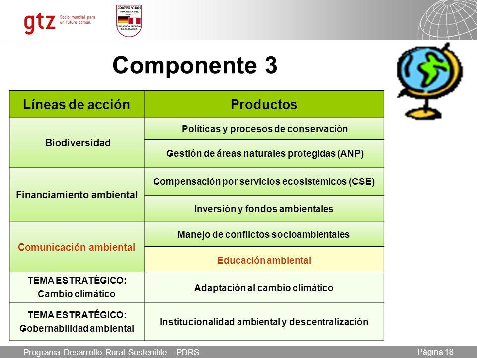 Componente 3 Líneas de acción Productos Biodiversidad
