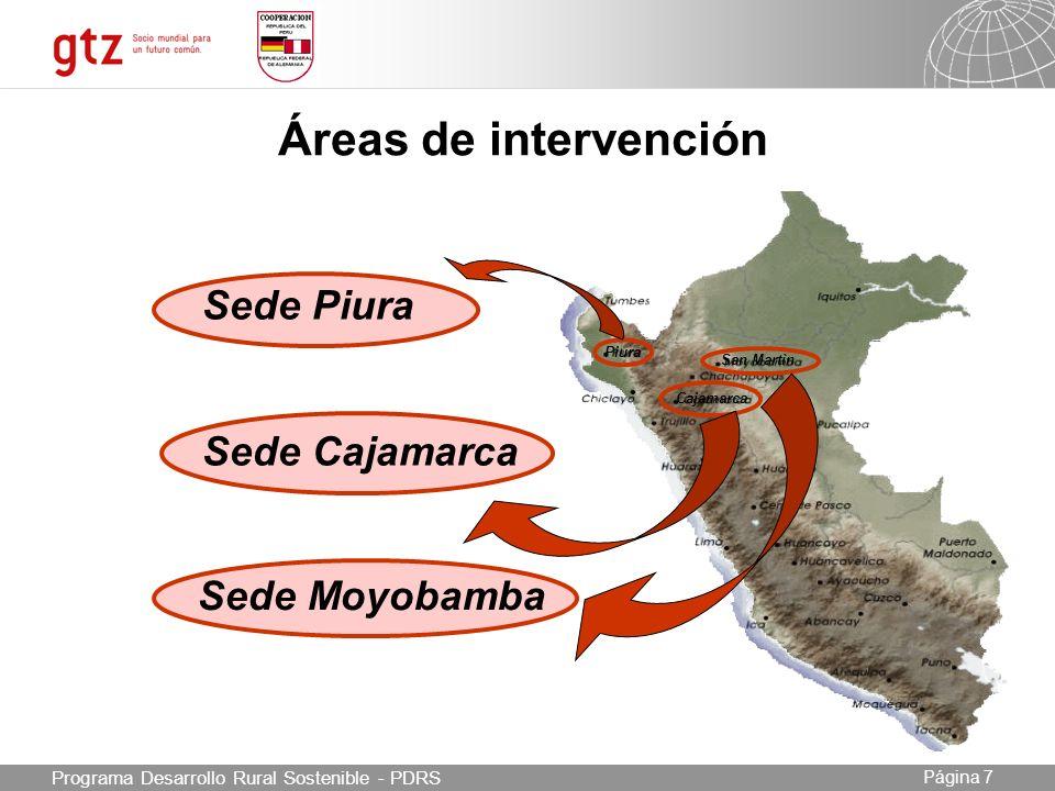 Áreas de intervención Sede Piura Sede Cajamarca Sede Moyobamba