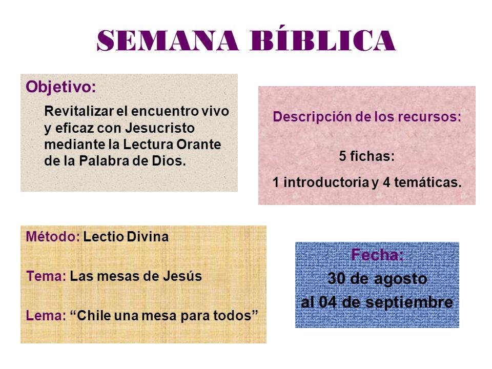 SEMANA BÍBLICA Objetivo: Revitalizar el encuentro vivo y eficaz con Jesucristo mediante la Lectura Orante de la Palabra de Dios.