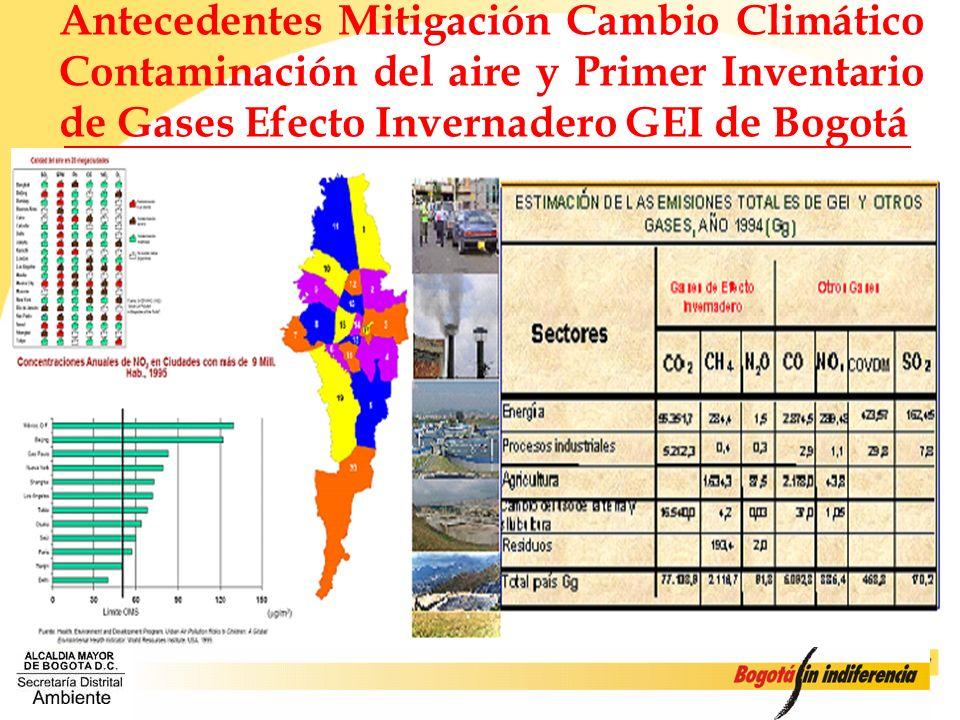 Antecedentes Mitigación Cambio Climático Contaminación del aire y Primer Inventario de Gases Efecto Invernadero GEI de Bogotá