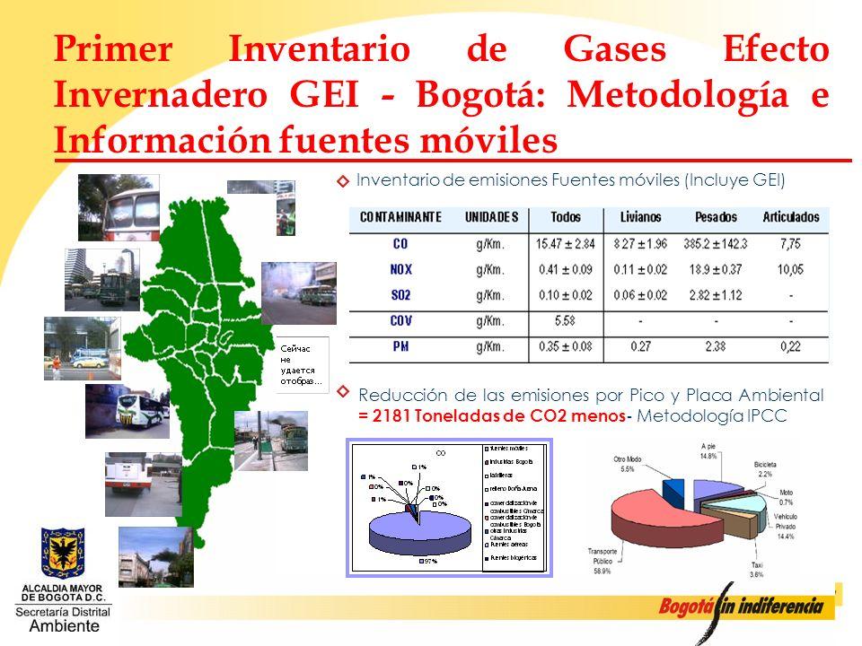 Primer Inventario de Gases Efecto Invernadero GEI - Bogotá: Metodología e Información fuentes móviles