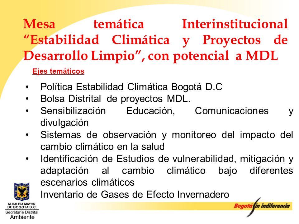 Mesa temática Interinstitucional Estabilidad Climática y Proyectos de Desarrollo Limpio , con potencial a MDL