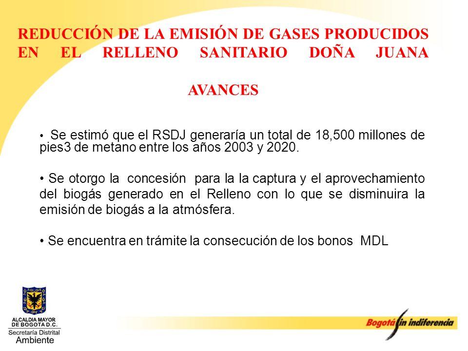 REDUCCIÓN DE LA EMISIÓN DE GASES PRODUCIDOS EN EL RELLENO SANITARIO DOÑA JUANA AVANCES