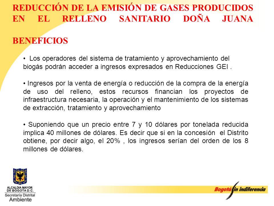 REDUCCIÓN DE LA EMISIÓN DE GASES PRODUCIDOS EN EL RELLENO SANITARIO DOÑA JUANA BENEFICIOS