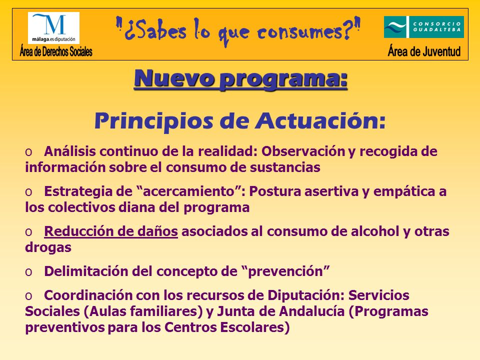 Área de Derechos Sociales Área de Juventud Nuevo programa: