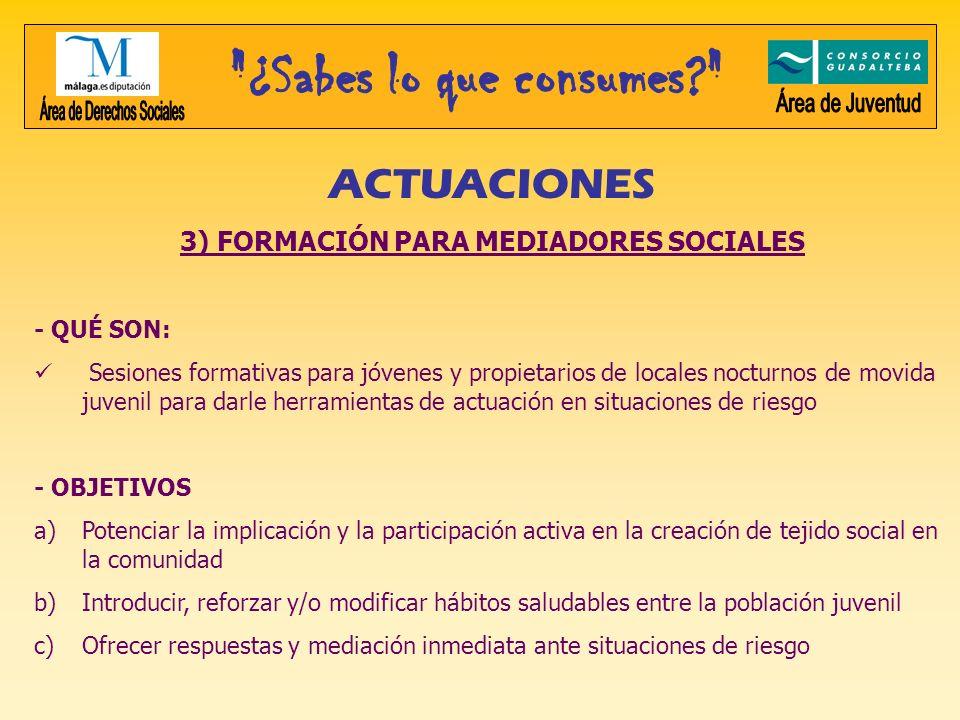 3) FORMACIÓN PARA MEDIADORES SOCIALES