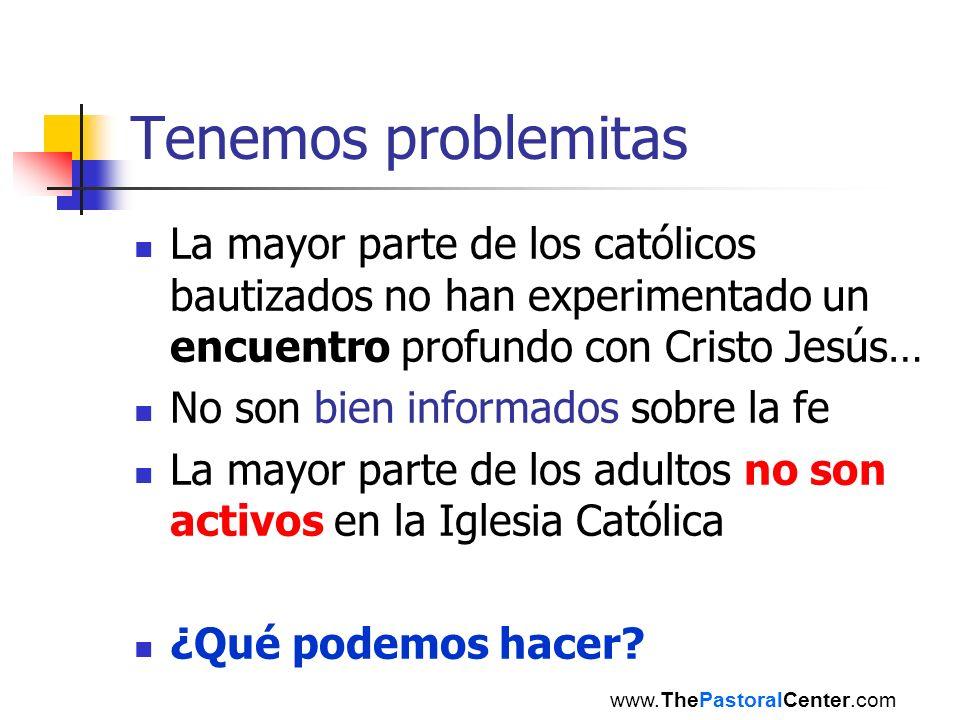 Tenemos problemitas La mayor parte de los católicos bautizados no han experimentado un encuentro profundo con Cristo Jesús…