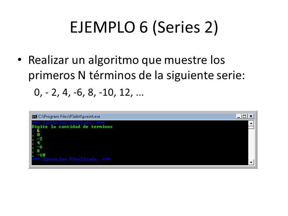 EJEMPLO 6 (Series 2) Realizar un algoritmo que muestre los primeros N términos de la siguiente serie: