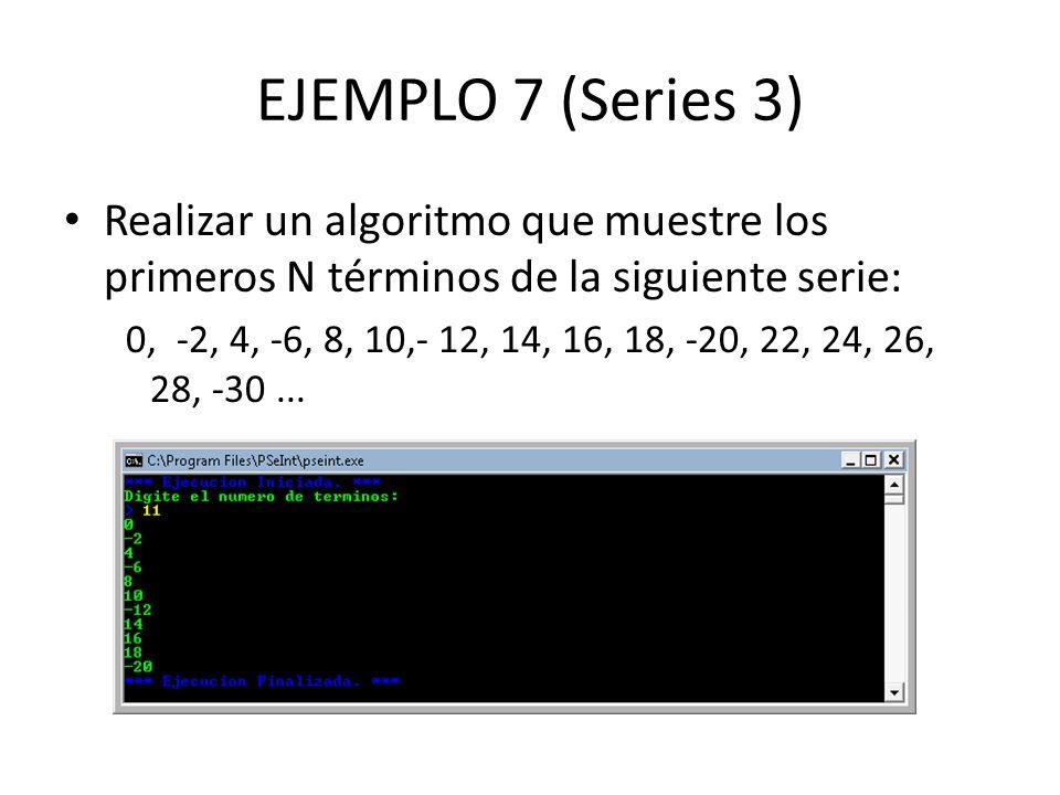 EJEMPLO 7 (Series 3) Realizar un algoritmo que muestre los primeros N términos de la siguiente serie: