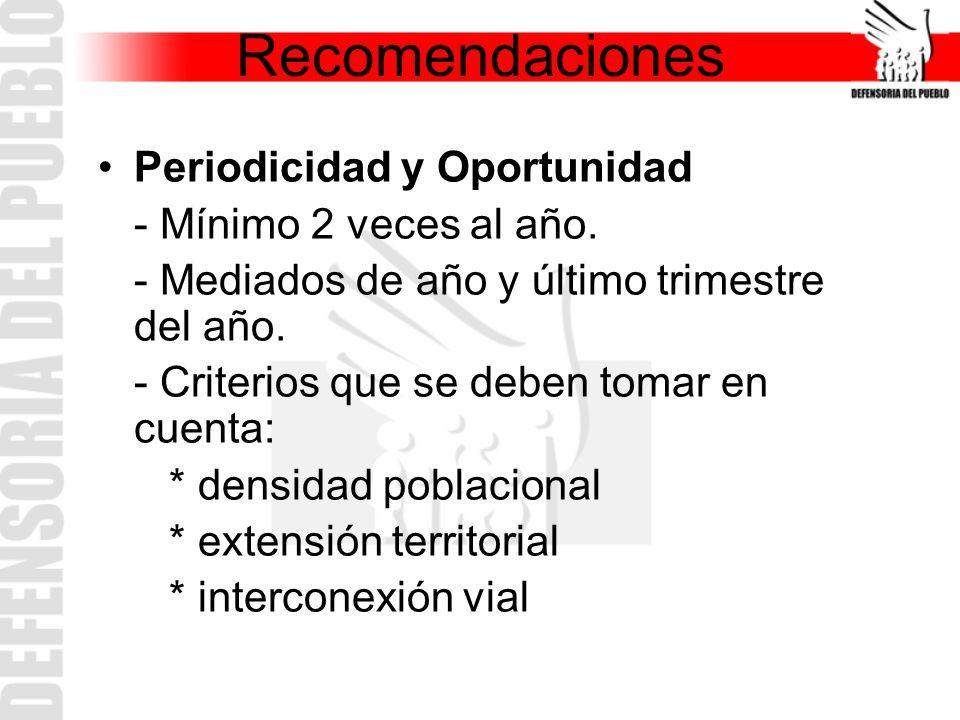 Recomendaciones Periodicidad y Oportunidad - Mínimo 2 veces al año.