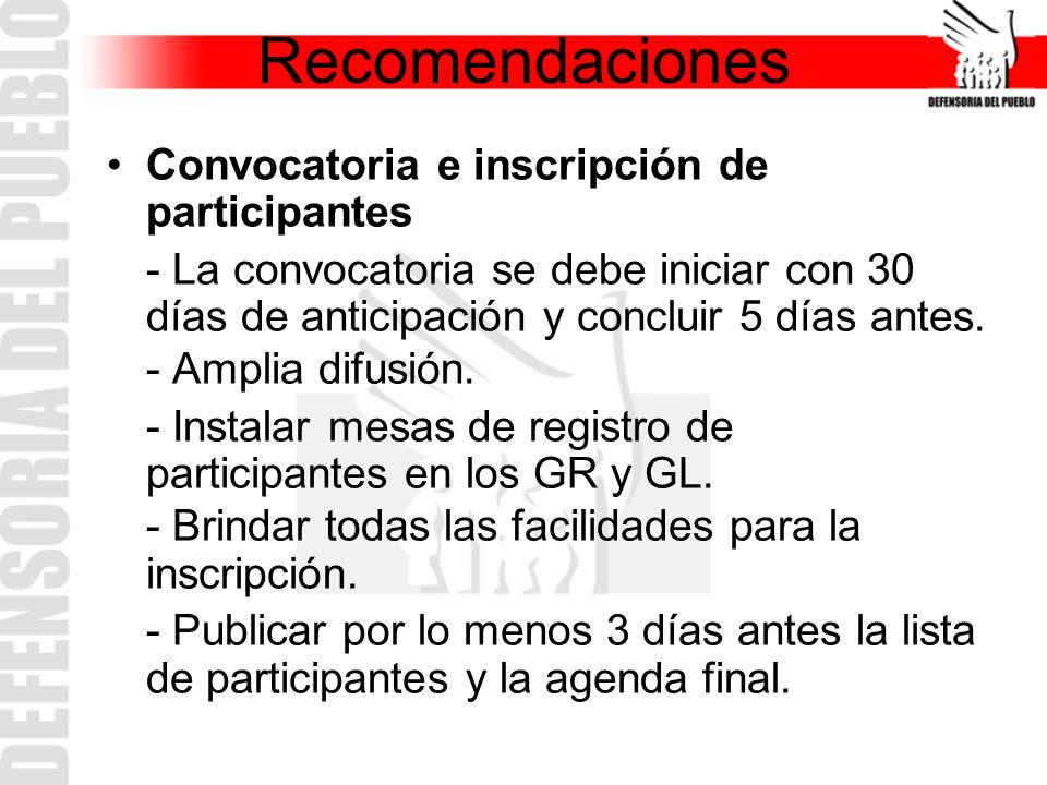 Recomendaciones Convocatoria e inscripción de participantes