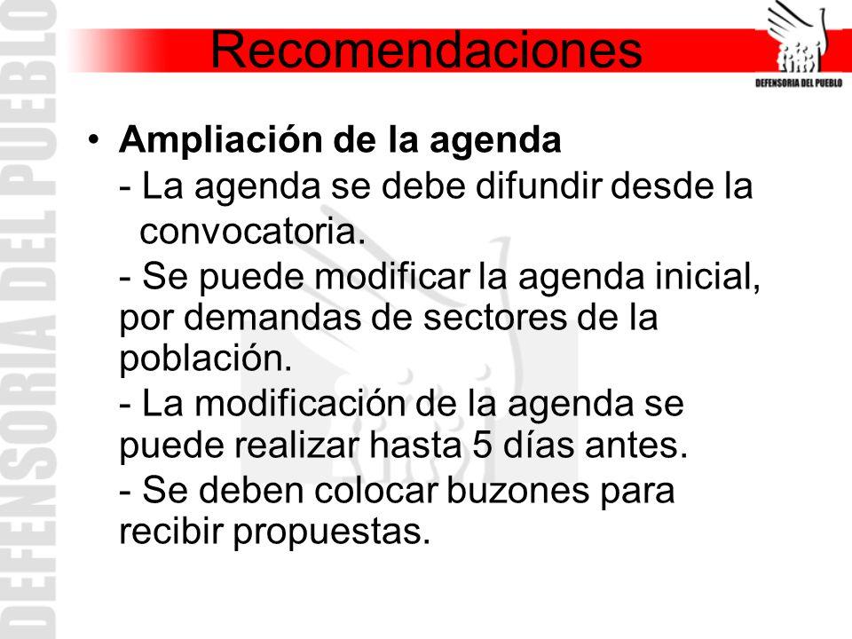 Recomendaciones Ampliación de la agenda