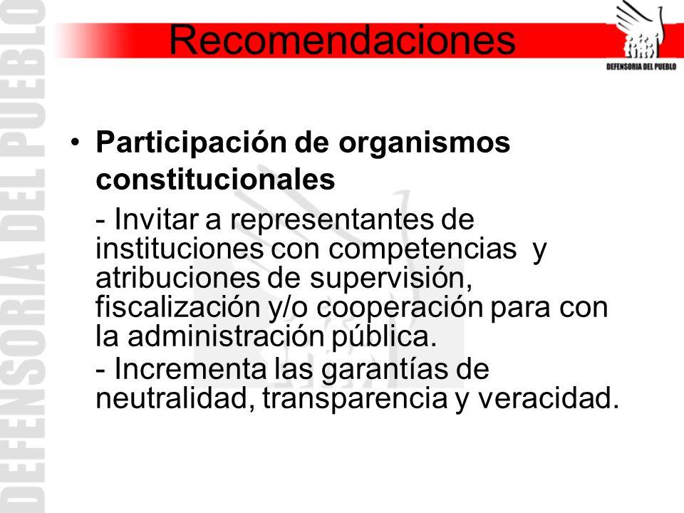 Recomendaciones Participación de organismos constitucionales