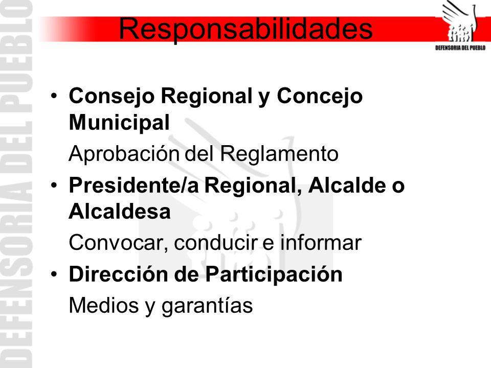 Responsabilidades Consejo Regional y Concejo Municipal