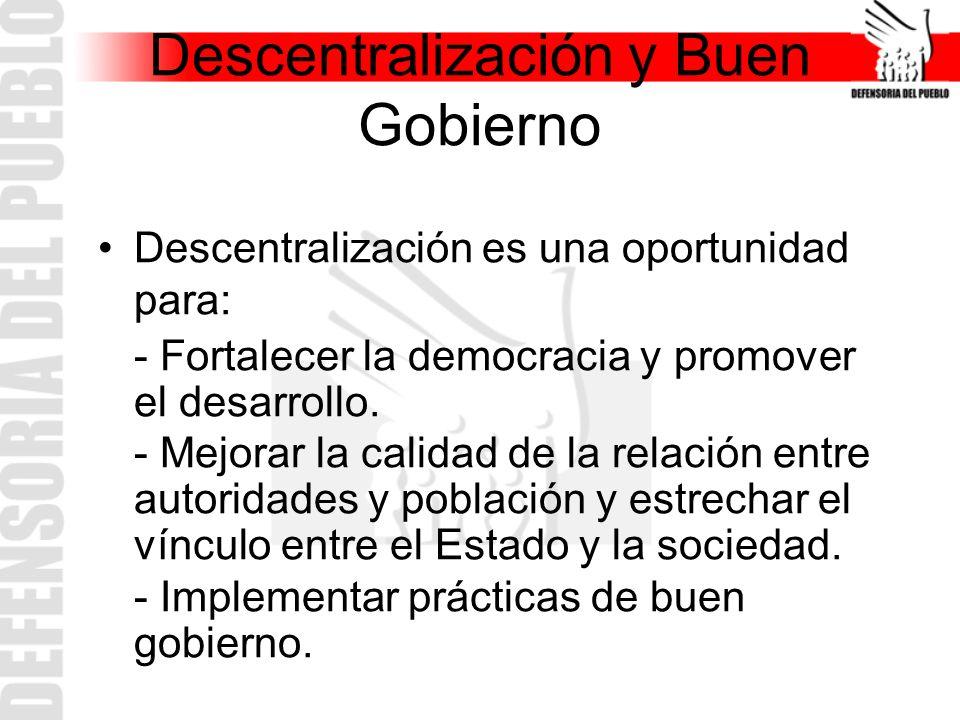 Descentralización y Buen Gobierno