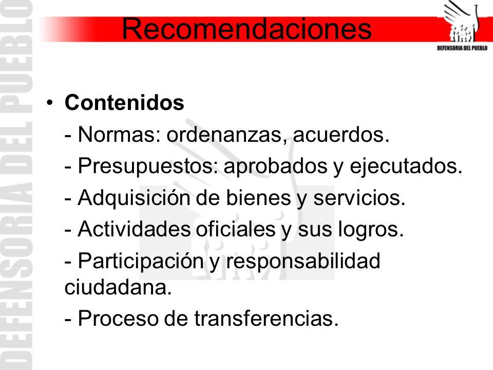 Recomendaciones Contenidos - Normas: ordenanzas, acuerdos.